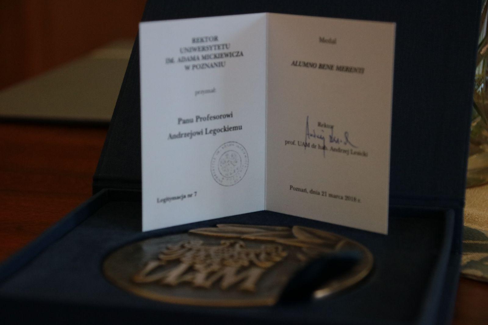 Medal Alumno Bene Merenti dla prof. Andrzeja Legockiego