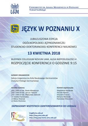 Język w Poznaniu. X Konferencja Naukowa na UAM