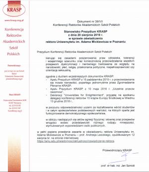 Konferencja Rektorów Akademickich Szkół Polskich popiera oświadczenie JM Rektora prof. Andrzeja Lesickiego