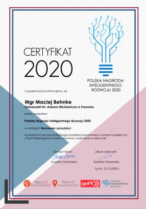 Maciej Behnke z Wydziału Psychologii i Kognitywistyki laureatem Polskiej Nagrody Inteligentnego Rozwoju 2020