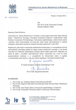 Stanowisko Kolegium rektorsko-dziekańskiego UAM