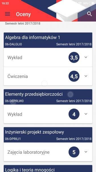 Aplikacja USOS - widok oceny