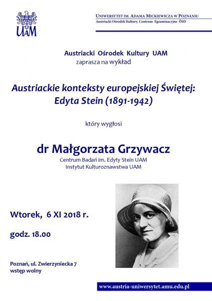 Plakat wykładu Edyta Stein