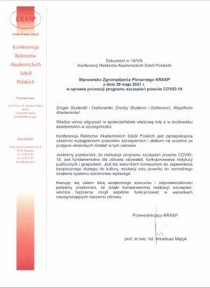 Stanowisko KRASP w sprawie programu szczepień