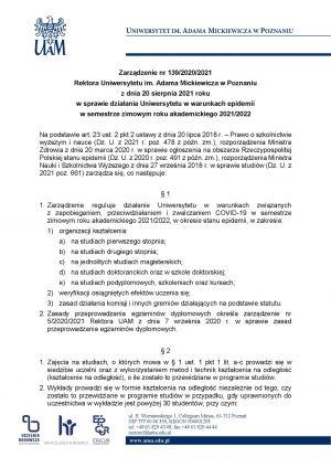 Zarządzenie JM Rektor UAM w sprawie nauki hybrydowej w semestrze zimowym roku akademickiego 2021/2022