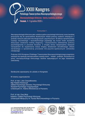 XXIII Kongres Polskiego Towarzystwa Neuropsychologicznego