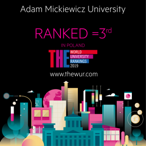 Adam Mickiewicz University, Poznań, ranked 3 in Poland  and 801-1000 in The Times Higher Education World University Rankings 2019
