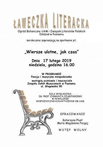 ławeczka literacka luty 2019