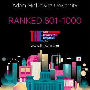 Uniwersytet im. Adama Mickiewicza w Poznaniu odnotowany  w prestiżowym rankingu Times Higher Education World University Rankings 2019