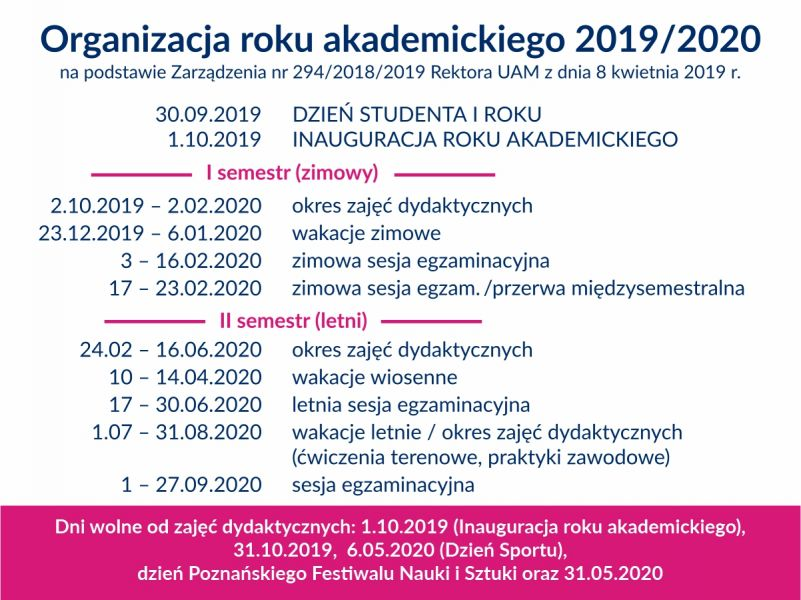 Organizacja roku akademickiego 2019/2020