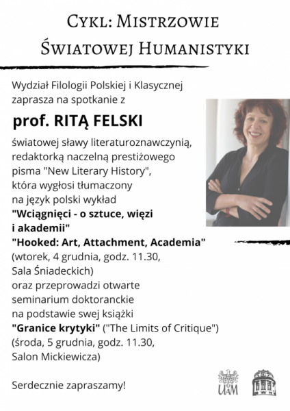 Spotkanie z prof. Ritą Felski plakat