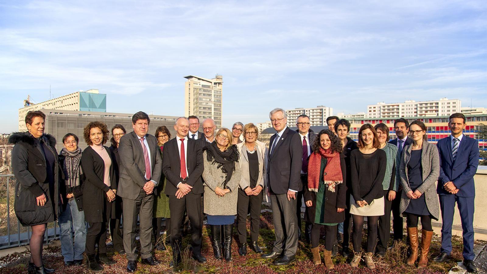 Przedstawiciele ośmiu uniwersytetów federacji EPICUR podczas spotkania grupy roboczej w Strasbourgu w styczniu 2019 r.