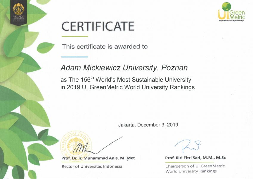 Certyfikat uzyskany w zielonym rankingu