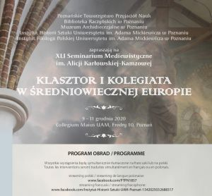XLI Seminarium Mediewistyczne im. Alicji Karłowskiej-Kamzowej pt.