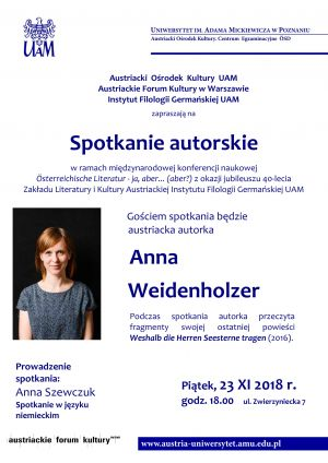 Spotkanie autorskie z udziałem pisarki Anny Weidenholzer z Austrii