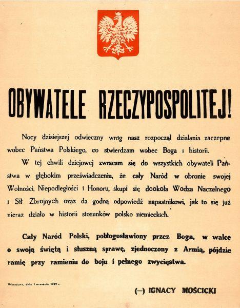 Orędzie Prezydenta RP Ignacego Mościckiego z 1 września 1939 r